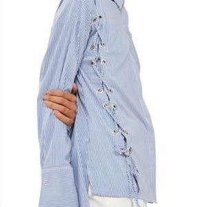 Topshop Blue White Striped Lace Up Shirt